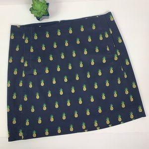 J. Crew Skirt Pineapple Print Navy Cotton Spandex